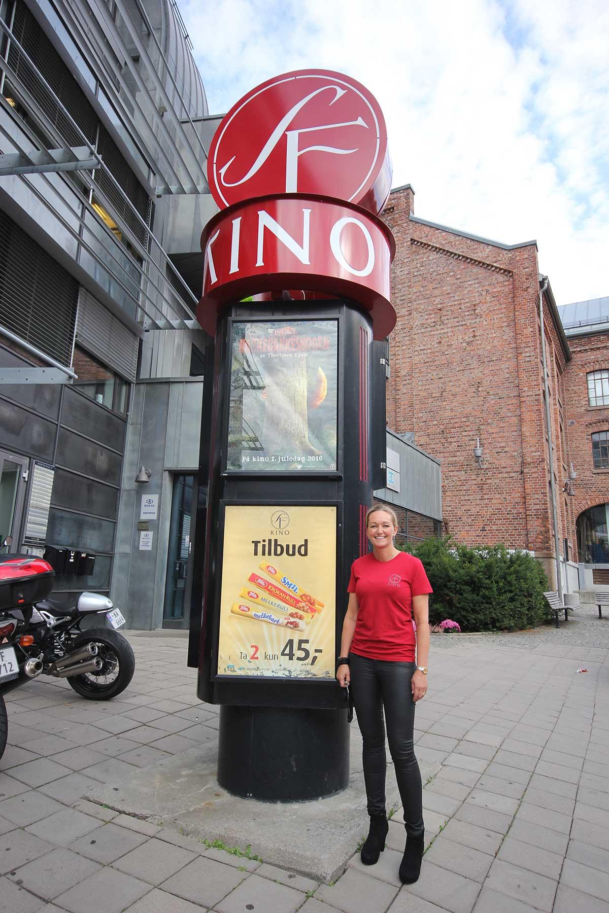 Senterleder Trine Groth foran inngangen til SF Kino Moss. Foto: John-Håkon Asker, KINOMAGASINET.no ©