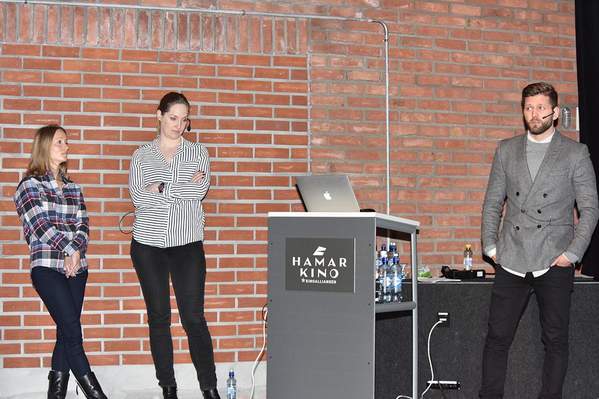 Fra venstre: Silje Helen Gundersen (Insights & Research Manager), Linn Barholt (Partnerships & Film Manager) og Erling Hjorthaug (Digital Product Manager) hos CAPA Kinoreklame under Den norske kinokonferansen 2016 på Hamar. Foto: John Berge, KINOMAGASINET.
