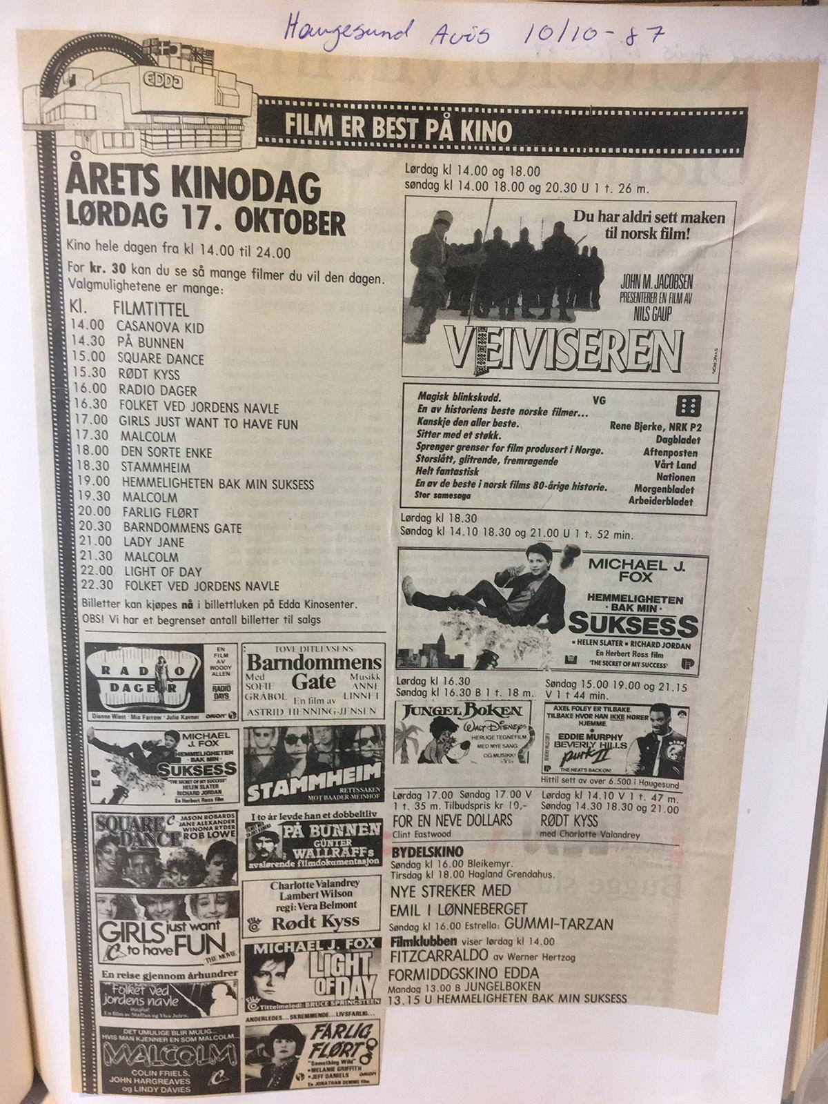 DEN FØRSTE KINODAGEN: Lørdag 17.10.1987. Her annonsen fra Haugesunds Avis.