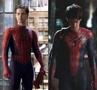 Tobey Maguire i Sam Raimis Spider-Man-filmer (t.v.) og Andrew Garfield i Marc Webbs filmer.