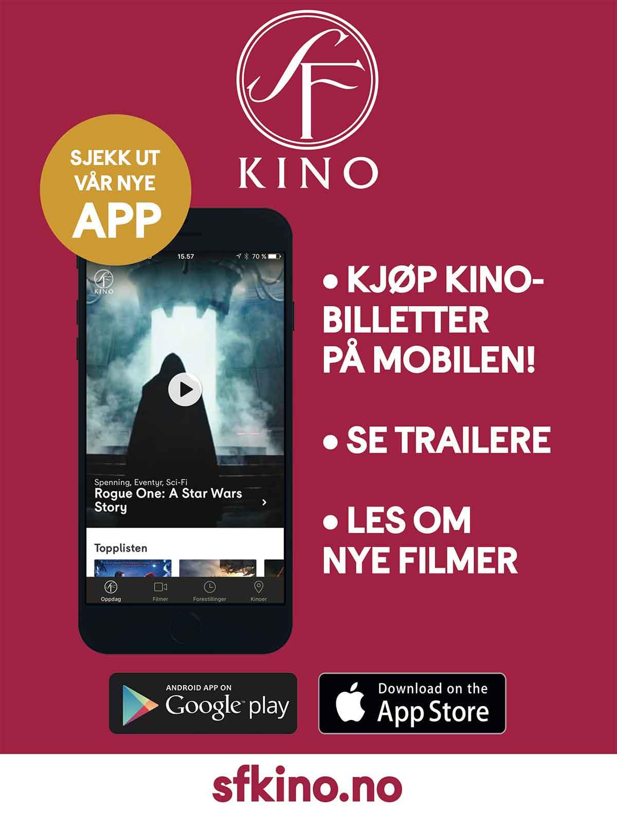Slik reklamerer SF Kino for sin nye app.