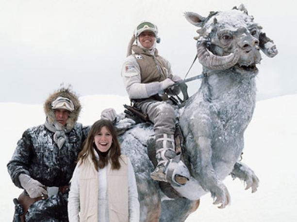 Harrison Ford, Carrie Fisher og Mark Hamill på Finse vinteren 1979.