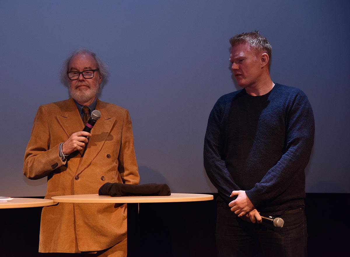 Produsent John M. Jacobsen (t.v.) og regissør Stig Svendsen da de presenterte thrilleren Kings Bay, som får premiere 27. januar 2017. Foto: John Berge, KINOMAGASINET.no ©